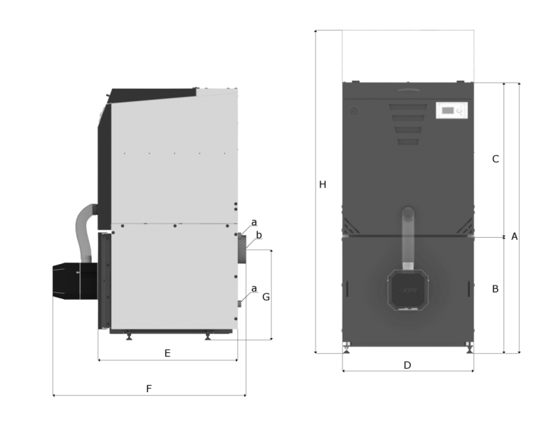 Zdjęcie przedstawiające kotłospawa slimko 12kw, pokazujące jak wygląda jego budowa. Jest to ważny aspekt przy wyborze odpowiedniej mocy do naszego domu, gdyż każdy z wariantów ma inne wymiary, czasami znacznie różniące się między sobą.