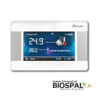 ecoSTER TOUCH - nowoczesny panel pokojowy przeznaczony do współpracy z modułami sterowania kotłem ecoMAX firmy PLUM.